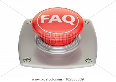 FAQ red button 3D rendering isolated on white background