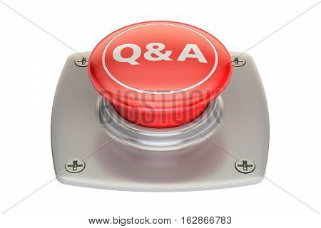 Q&A red button 3D rendering isolated on white background