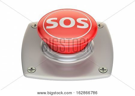 SOS red button 3D rendering isolated on white background
