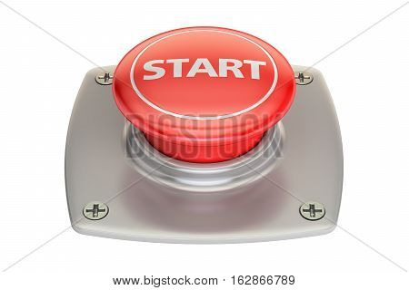 Start red button 3D rendering isolated on white background