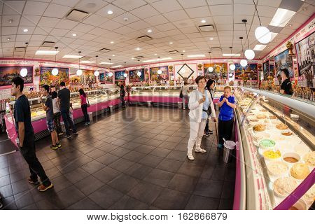 VANCOUVER - JULY 11: Customers at the famous La Casa Gelato shop in Vancouver July 11, 2016. It is renowned as the only ice cream shop in the world to carry 238 flavors on location at a time.