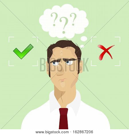 Thinking businessman with speech bubbles choosing option between yes and no. Choice, problem and decision concept.