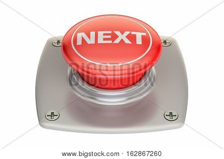 Next Red button 3D rendering isolated on white background