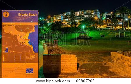 Sydney, Australia - May 28, 2016: Night image of Bronte Beach Park, Sydney, New South Wales, Australia. This is a coastal public park directly in front of the popular beach. High resolution image with focus trained on the park.