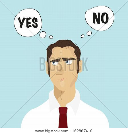 Business man and choice yes or no. Choice, problem and decision concept.