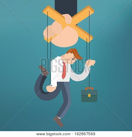 Worker marionette on ropes controlled boss hand. Vector flat illustration