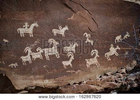 Petroglyphs found in Arches National Park outside of Moab, Utah