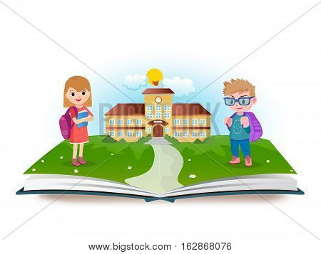 Schoolboy and schoolgirl with opened book - vector illustration.