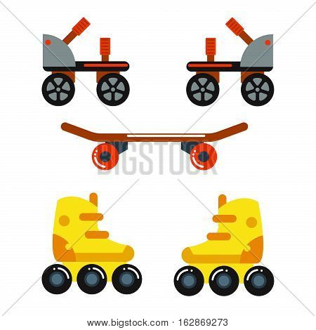 Roller skate boot icon silhouette shoe wheel design vector illustration. Sport roll activity graphic retro kid leisure. Extreme young rollerskate relaxation vintage equipment.