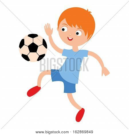 Young child boy playing football vector illustration. Active sport running soccer game. Competition youth activity kid, play activity lifestyle character.