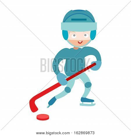 Hockey player boy with stick, attitude and bandage on face. Winter sport athlete uniform in helmet equipment. Cute pretty tough confident smiling male vector.