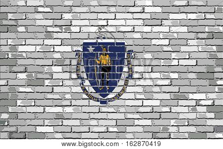 Flag of Massachusetts on a brick wall with effect - Illustration,  The flag of the state of Massachusetts on brick background,  Massachusetts flag in brick style