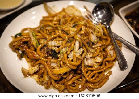 Chinese Shanghai Fried Noodles Chow Mein