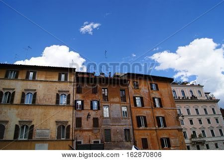 Typical Colorful Old Houses Seen In The Area Of Trastevere In Rome
