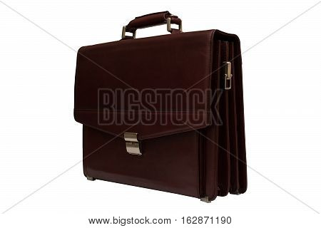 Brown leather briefcase. Isolated, white background. Bag for carrying papers.