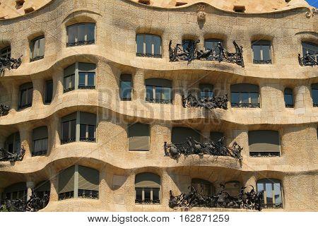 Casa Mila in Barcelona , capital city of Catalonia
