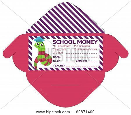 Personalized school money envelop with teacher notes.Funny exotic animal.Vector template packet