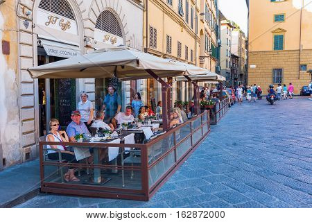 Street Cafe In The Old Town Of Florence, Italy