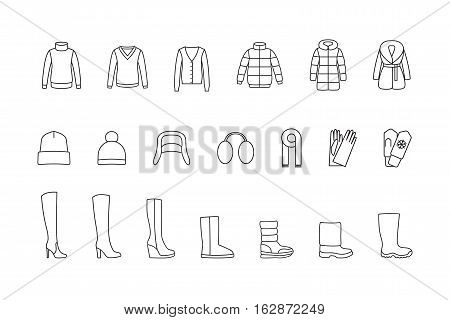 Winter clothes and shoes line icons set. Vector