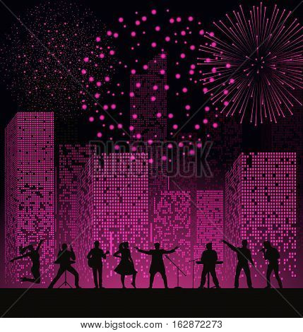 Band Show On Night City Background With Fireshow At Pink Style. Festival Concept. Set Of Silhouettes