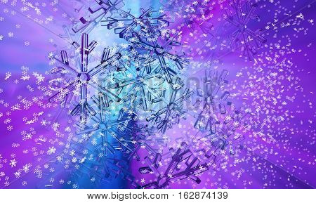 Color light abstract 3d illustration snowflake blue horizontal background
