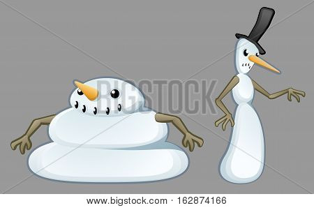 Snowmen characters fat and thin pair cartoon, vector illustration, isolated