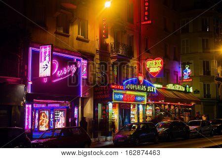 Sex Shops At Pigalle District In Paris, France