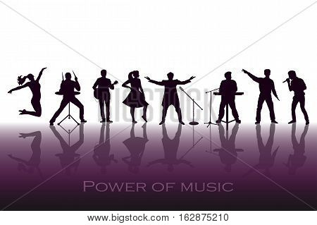 Power Of Music Concept. Set Of Black Silhouettes Of Musicians, Singers And Dancers. Vector Illustrat