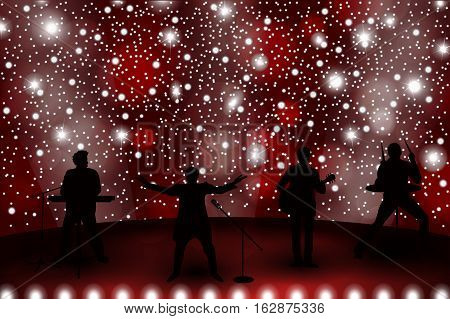 Band Show Concept With Red Light And Stars. Set Of Silhouettes Of Musicians, Singers And Dancers. Ve