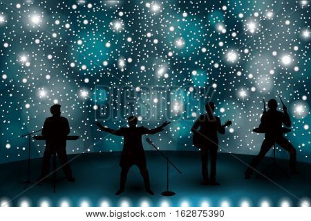 Band Show Concept With Blue Light And Stars. Set Of Silhouettes Of Musicians, Singers And Dancers. V