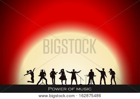 Band Show On Red Sunset Background. Festival Concept. Set Of Silhouettes Of Musicians, Singers And D