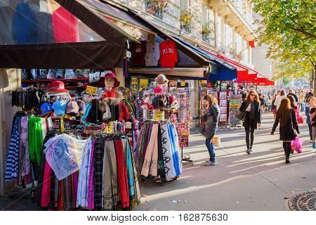 Souvenir Shops Near Notre Dame Catheral In Paris, France