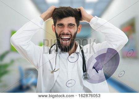 Closeup portrait of rude frustrated upset overwhelmed, angry young doctor, mad health care professional, screaming and pulling hair with medical graphs in foreground. Human face expressions, emotions