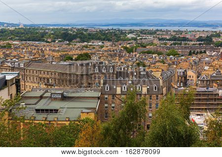 Aerial View Over Edinburgh, Scotland, Uk