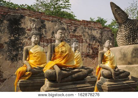The Buddha statue in Ayutthaya Province of Thailand