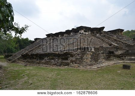 Ruins and pyramids at the pre-Columbian archeological site El Tajin in Papantla, Veracruz, Mexico
