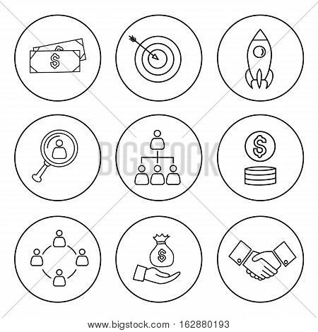 Unique set of thin line bussines icon. Vector icon set.