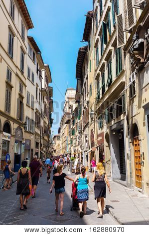 Street Scene In The Old Town Of Florence, Italy