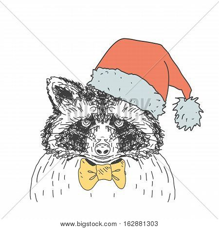 Vintage Christmas vector illustration with forest raccoon.