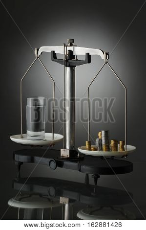 Vintage weight. abstraction of the value of drinking water
