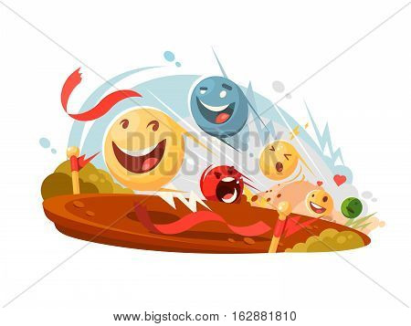 Funny emotional smileys compete in race. Vector flat illustration