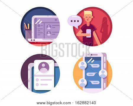 Communication internet icons. Chatting and messaging using phone. Vector illustration