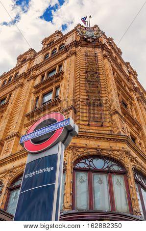 Famous Harrods Store In London, Uk