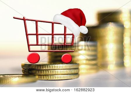 Shopping cart on background of money . The concept of the demand for banking services .