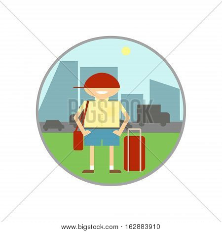 Hitchhiking tourism. Individual tourism and travel. Vector illustration.
