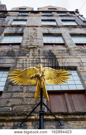 Gladstone's Land With A Golden Hawk Above Entrance In Edinburgh, Scotland