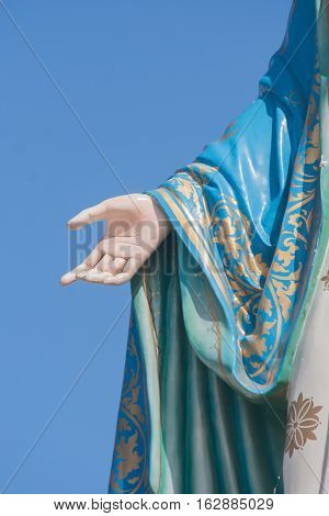 Hand of The Blessed Virgin Mary in the Roman Catholic Diocese that is public place in Chanthaburi Province, Thailand.