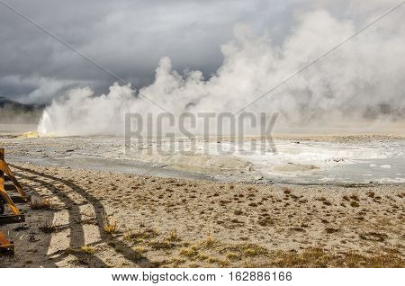 Spasm Geyser in the Lower Geyser Basin at Yellowstone National Park