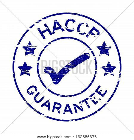Grunge blue HACCP guarantee round rubber stamp
