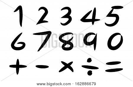 Black hand drawing number and basic math symbol on white background